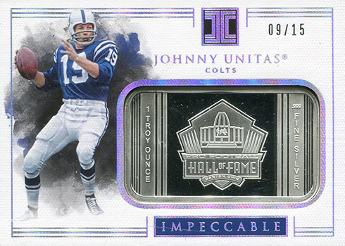 2017 Panini Impeccable Football Silver Hall of Fame Johnny Unitas