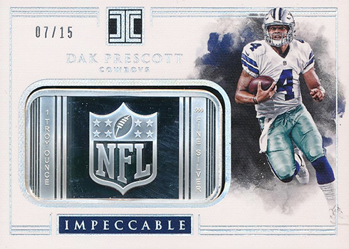 2017 Panini Impeccable Football Silver NFL Shields Dak Prescott