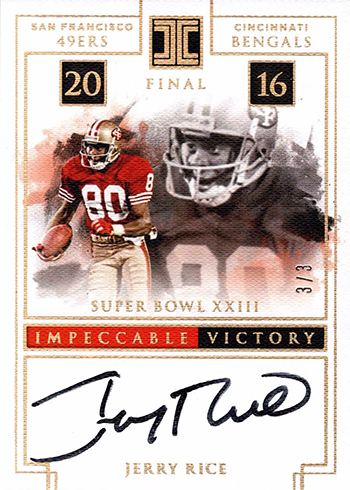 2017 Panini Impeccable Football Impeccable Victory Gold Jerry Rice Autograph