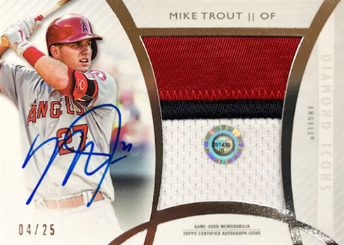 2017 Topps Diamond Icons Baseball Authenticated Jumbo Patch Autograph Mike Trout