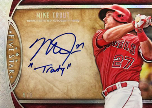 2017 Topps Five Star Baseball Five Star Signatures Mike Trout