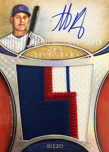 2017 Topps Five Star Baseball Jumbo Patch Autographs Anthony Rizzo