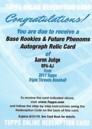 2017 Topps Triple Threads Aaron Judge Redemption