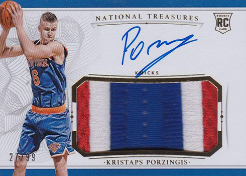 2015-16 Panini National Treasures Kristaps Porzingis Rookie Card