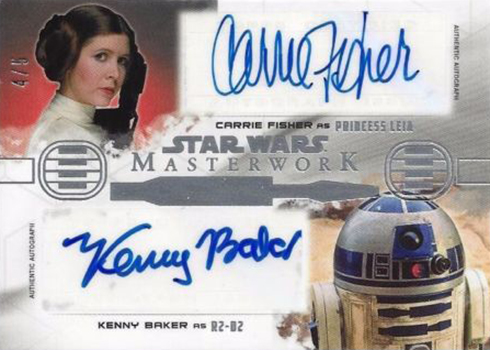 2017 Topps Star Wars Masterwork Alongside R2-D2 Autographs Carrie Fisher Kenny Baker