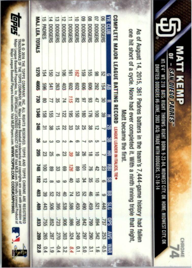 2016-Tarjeta-de-beisbol-Topps-Chrome-Rosa-refractores-Pick miniatura 53