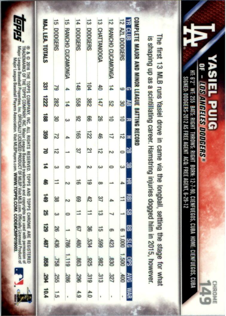 2016-Tarjeta-de-beisbol-Topps-Chrome-Rosa-refractores-Pick miniatura 115