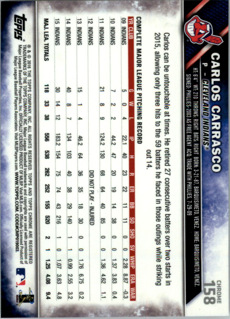 2016-Tarjeta-de-beisbol-Topps-Chrome-Rosa-refractores-Pick miniatura 125