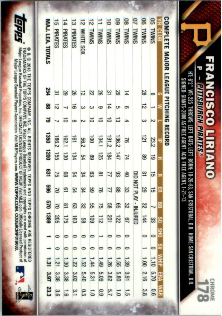 2016-Tarjeta-de-beisbol-Topps-Chrome-Rosa-refractores-Pick miniatura 139