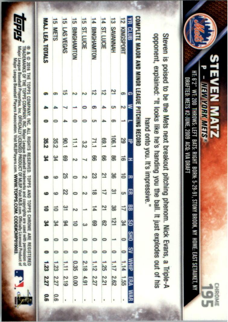 2016-Tarjeta-de-beisbol-Topps-Chrome-Rosa-refractores-Pick miniatura 153