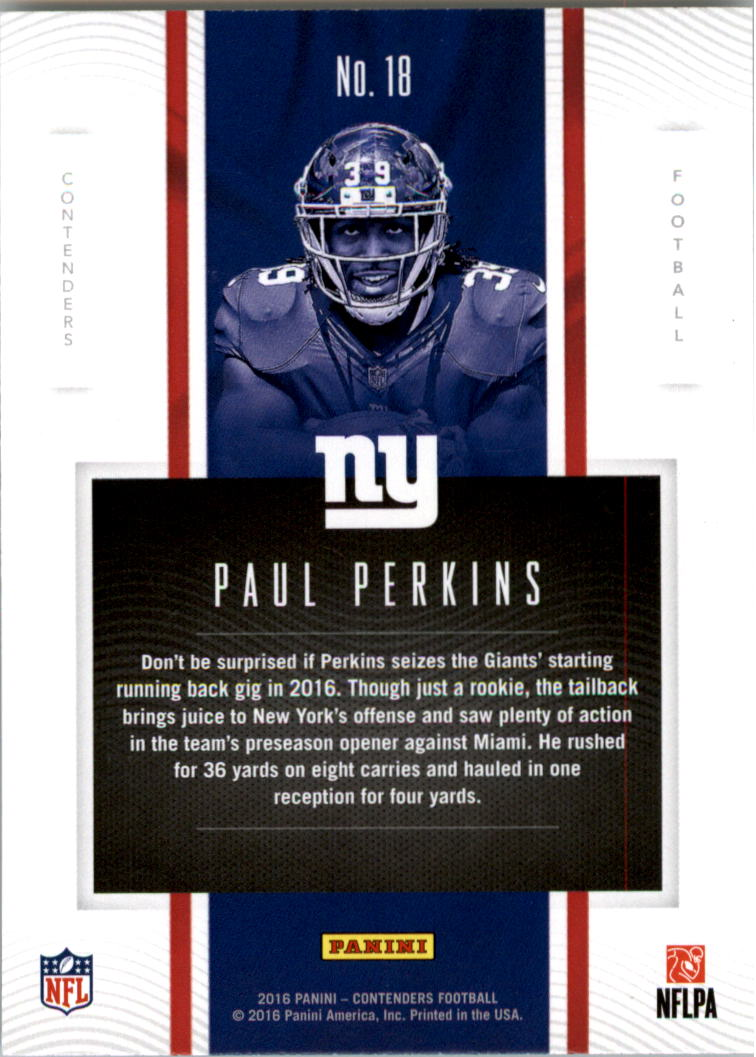 Verzamelkaarten: sport Verzamelkaarten, ruilkaarten 2016 Panini Contenders Rookie of the Year Contenders #18 Paul Perkins NY Giants