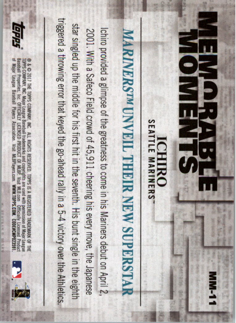 Details About 2017 Topps Memorable Moments Baseball Card Pick