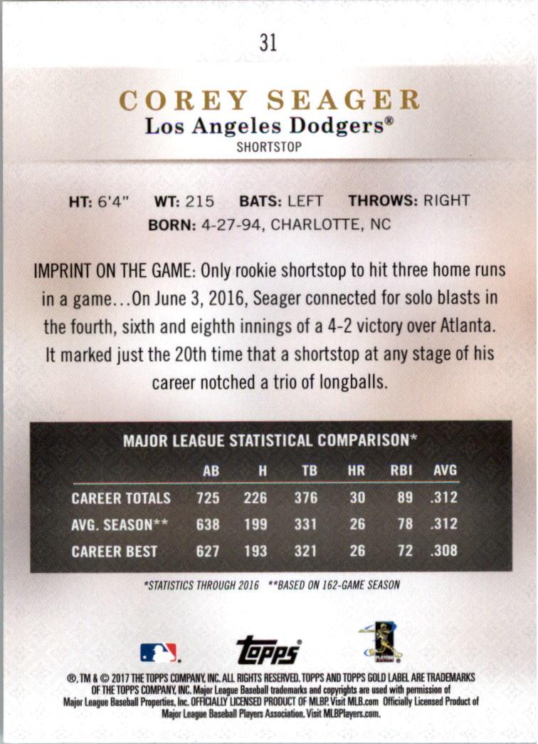2017-Topps-Label-clase-2-Tarjeta-de-beisbol-Gold-Pick miniatura 31