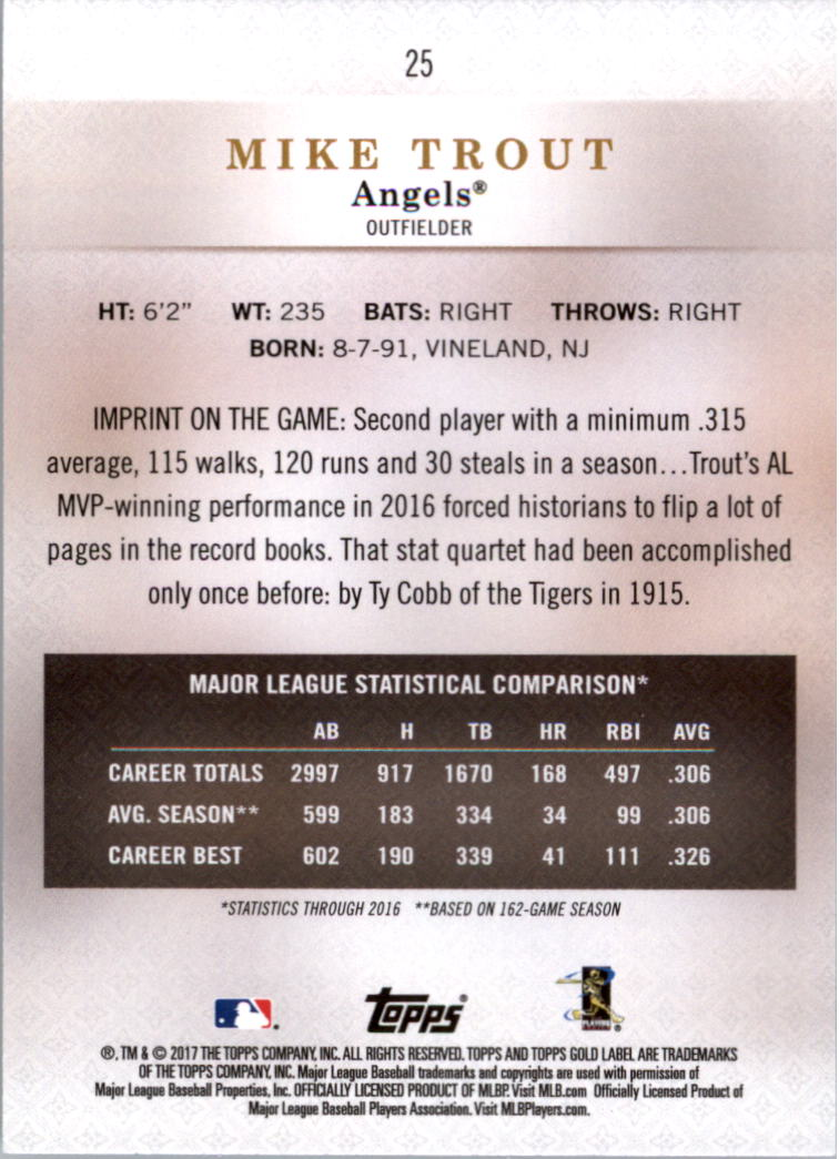 2017-Topps-Gold-Label-clase-3-Tarjeta-de-beisbol-Pick miniatura 11