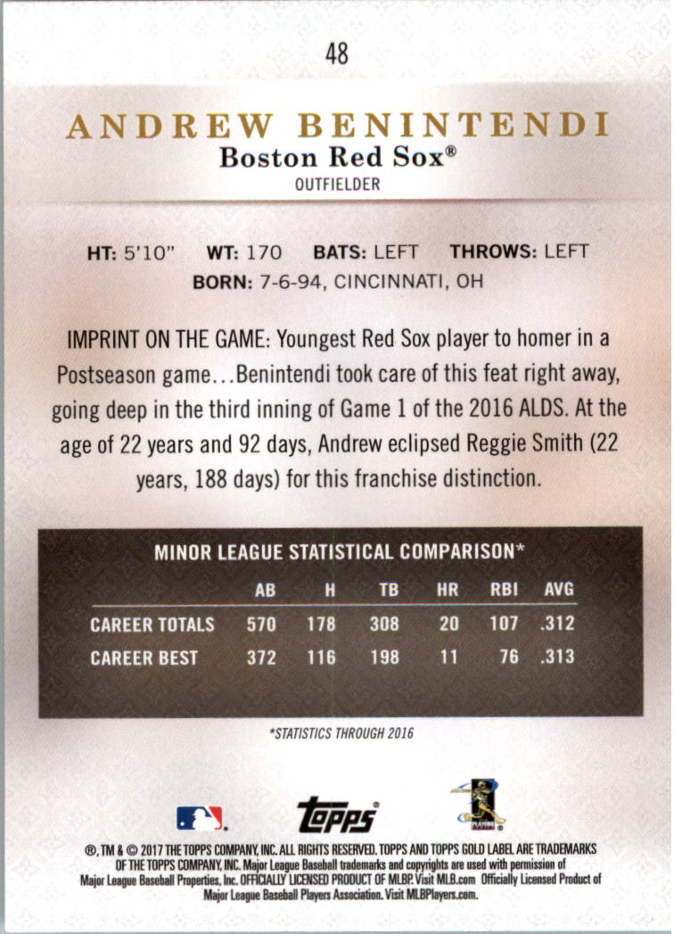 2017-Topps-Gold-Label-clase-3-Tarjeta-de-beisbol-Pick miniatura 29