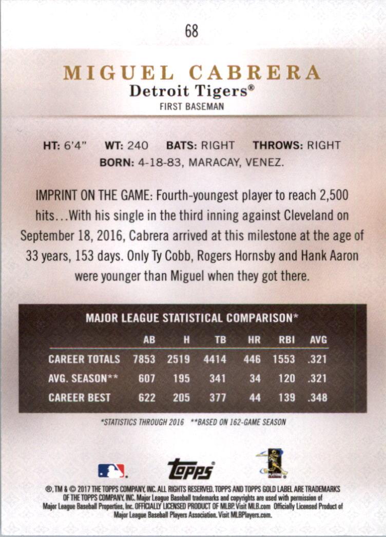 2017-Topps-Gold-Label-clase-3-Tarjeta-de-beisbol-Pick miniatura 41