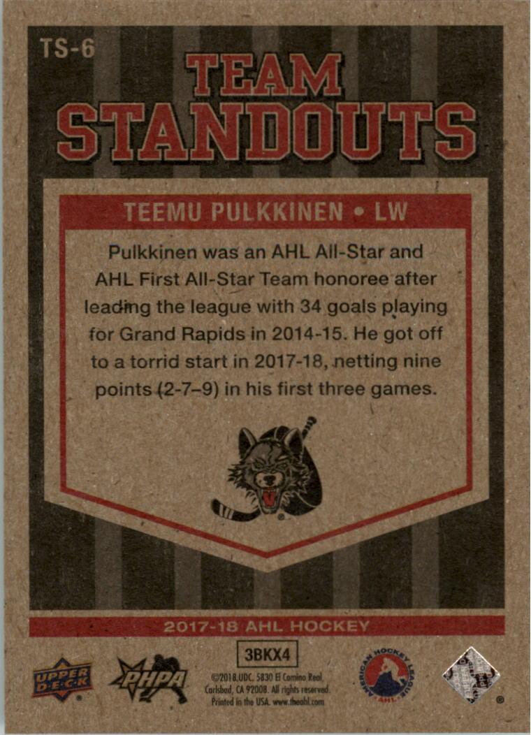 2017-18-Upper-Deck-ahl-equipo-destacados-Hockey-Tarjeta-Pick miniatura 5