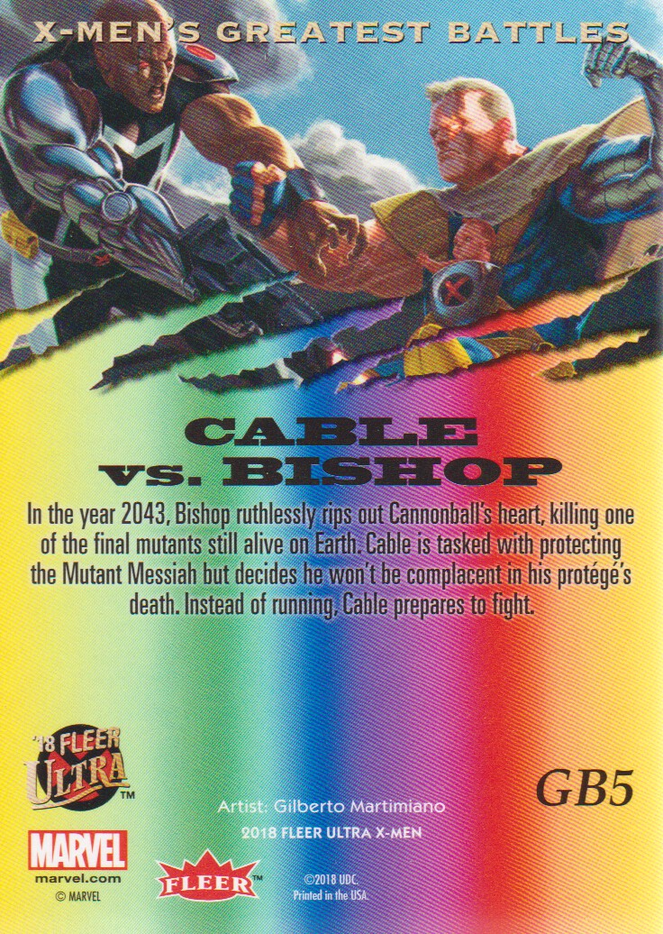 2018-Fleer-Ultra-X-Men-Trading-Cards-Inserts-Greatest-Battles-Pick-From-List miniature 7