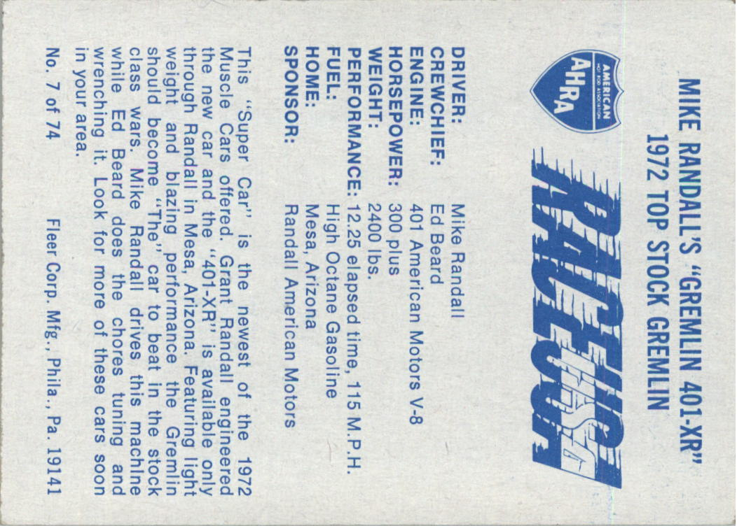 1973-Fleer-AHRA-Race-USA-Racing-Card-Pick miniature 7
