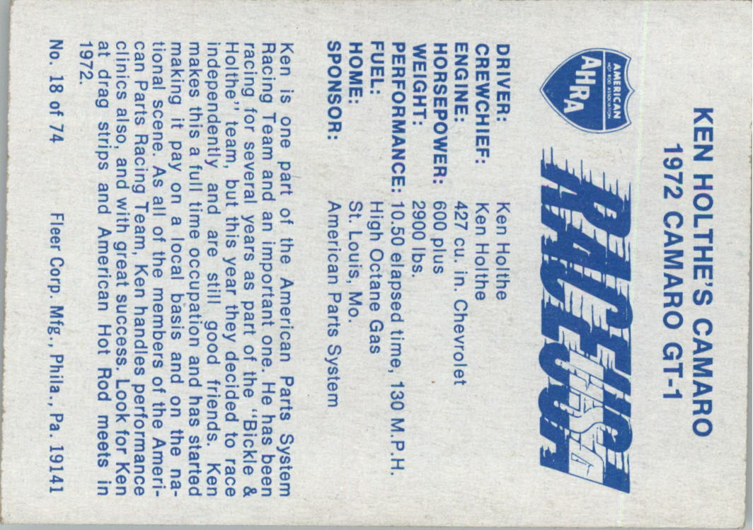 1973-Fleer-AHRA-Race-USA-Racing-Card-Pick miniature 21