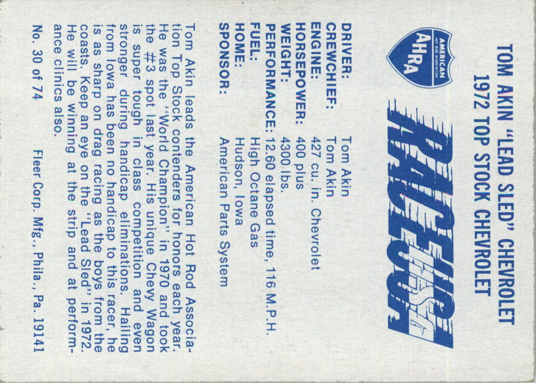 1973-Fleer-AHRA-Race-USA-Racing-Card-Pick miniature 35