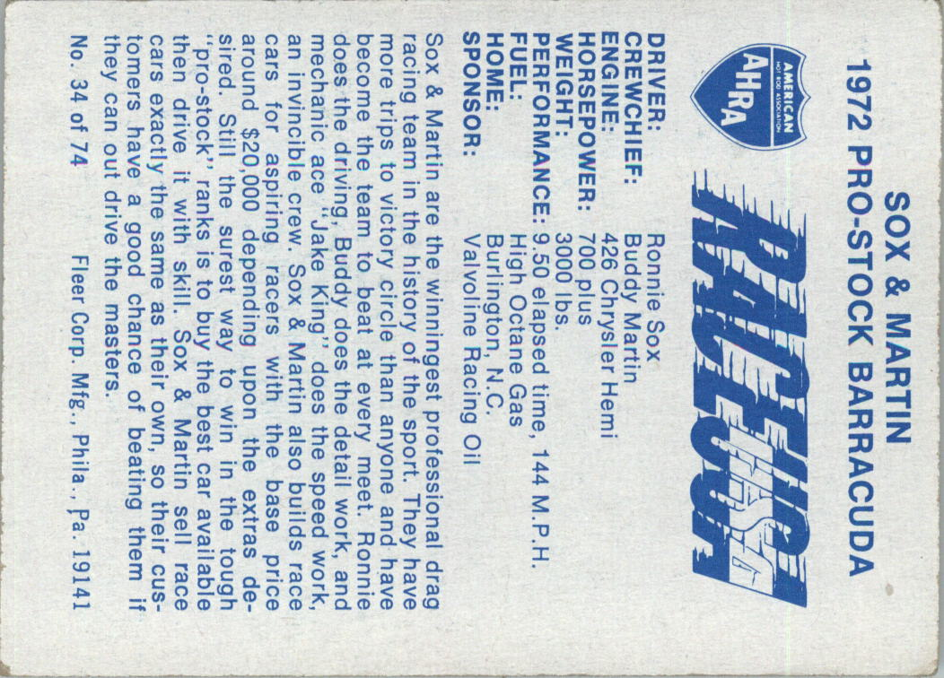 1973-Fleer-AHRA-Race-USA-Racing-Card-Pick miniature 41