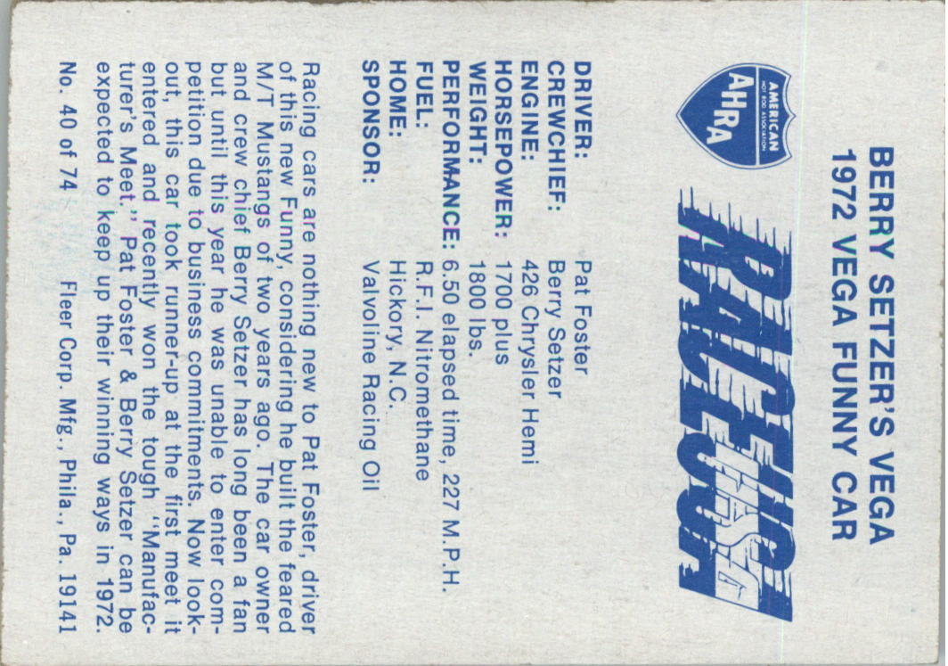 1973-Fleer-AHRA-Race-USA-Racing-Card-Pick miniature 47