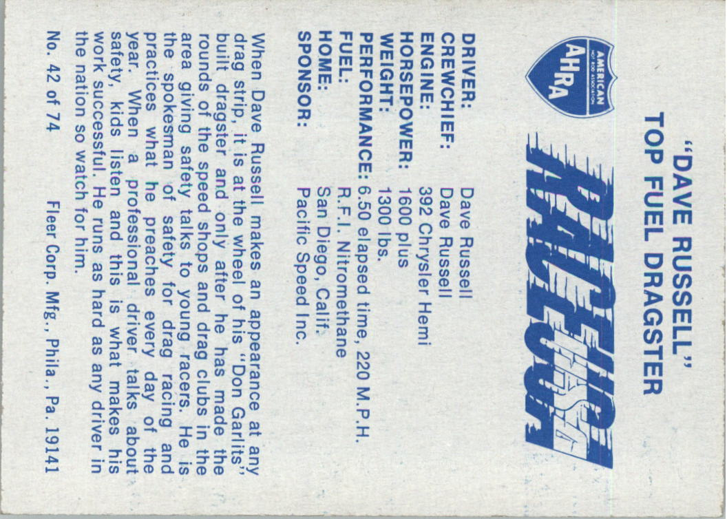 1973-Fleer-AHRA-Race-USA-Racing-Card-Pick miniature 51