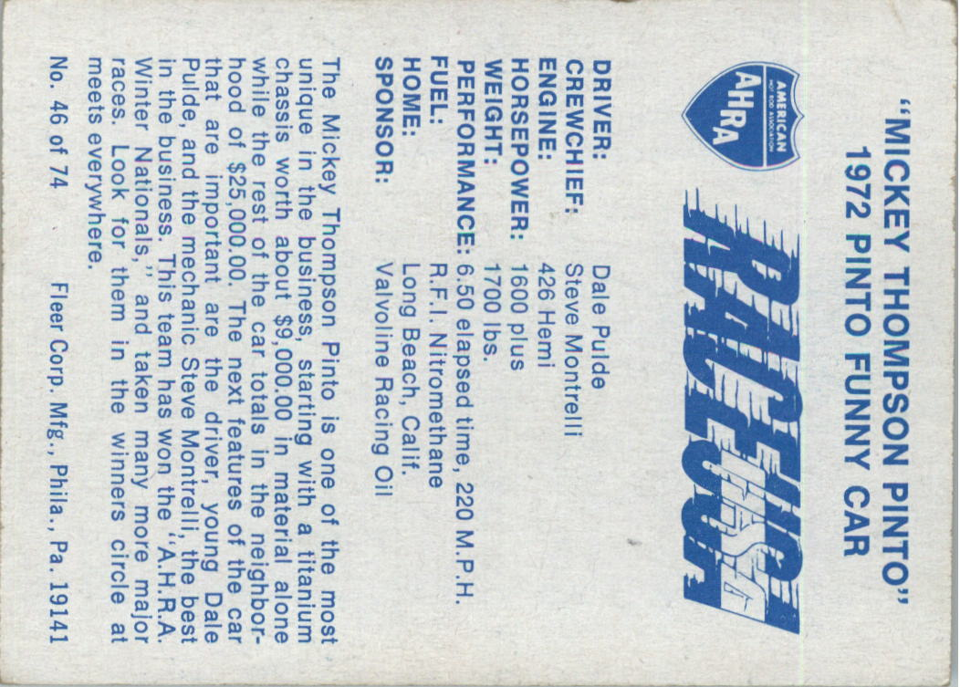 1973-Fleer-AHRA-Race-USA-Racing-Card-Pick miniature 61