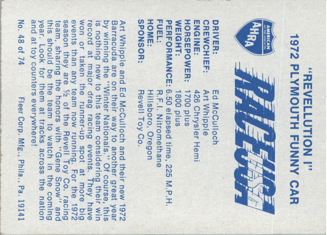 1973-Fleer-AHRA-Race-USA-Racing-Card-Pick miniature 63