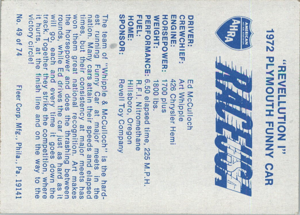 1973-Fleer-AHRA-Race-USA-Racing-Card-Pick miniature 65