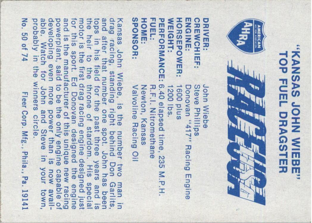1973-Fleer-AHRA-Race-USA-Racing-Card-Pick miniature 67