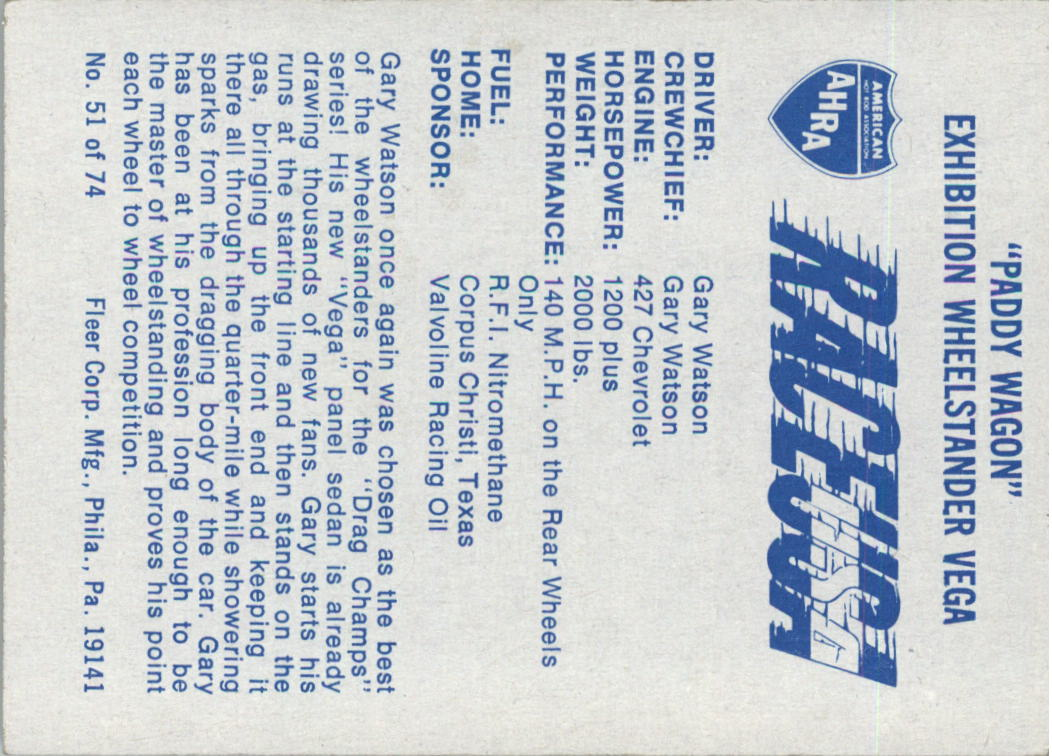 1973-Fleer-AHRA-Race-USA-Racing-Card-Pick miniature 69
