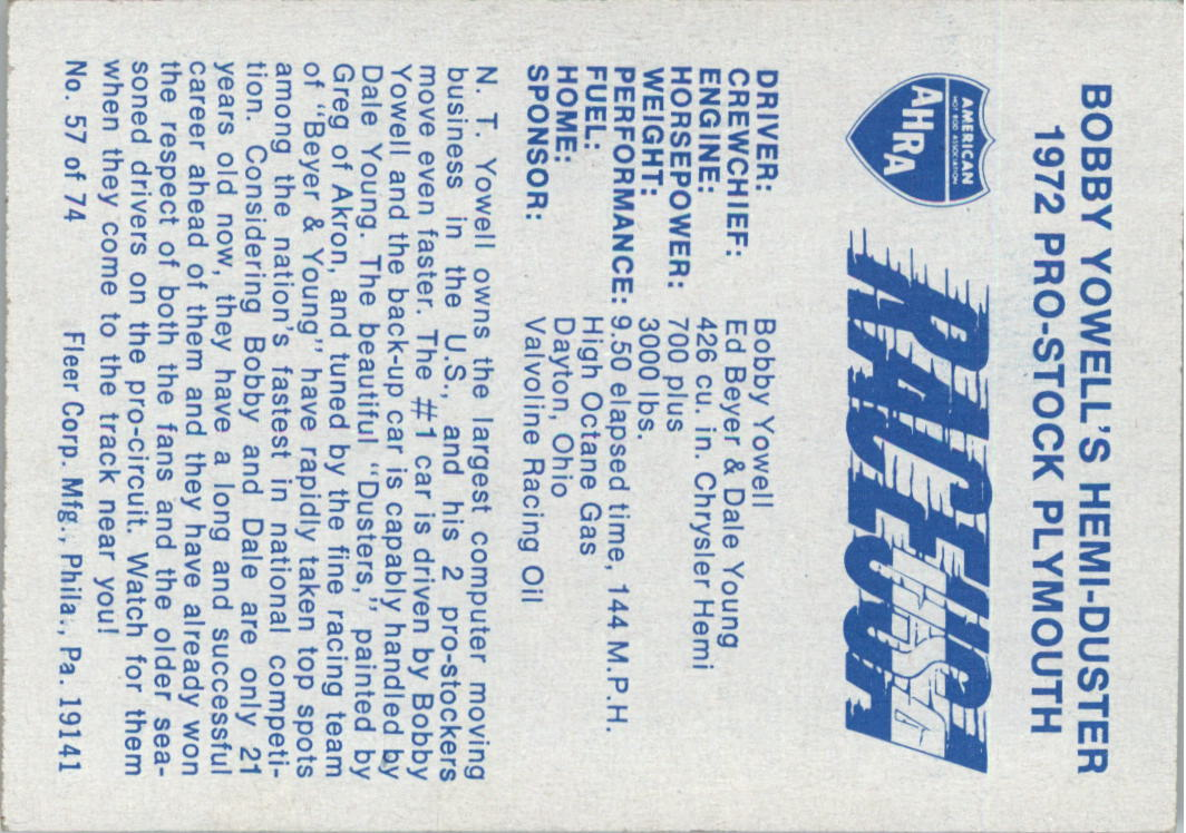 1973-Fleer-AHRA-Race-USA-Racing-Card-Pick miniature 73