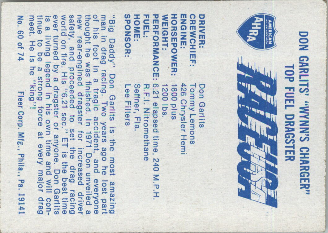 1973-Fleer-AHRA-Race-USA-Racing-Card-Pick miniature 77