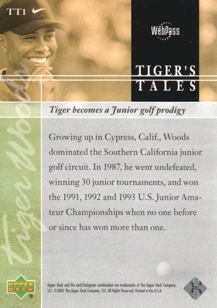 2001-Upper-Deck-Tiger-039-s-Tales-Golf-Cards-Pick-From-List miniature 3