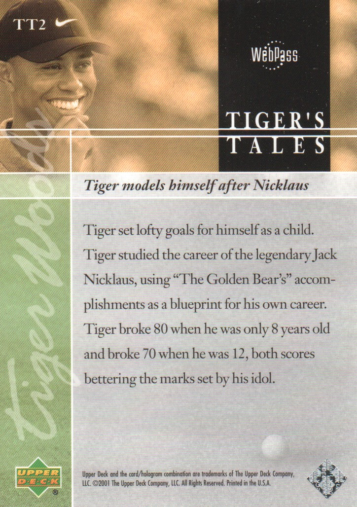 2001-Upper-Deck-Tiger-039-s-Tales-Golf-Cards-Pick-From-List miniature 5