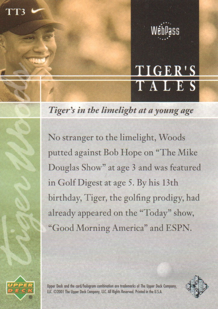 2001-Upper-Deck-Tiger-039-s-Tales-Golf-Cards-Pick-From-List miniature 7