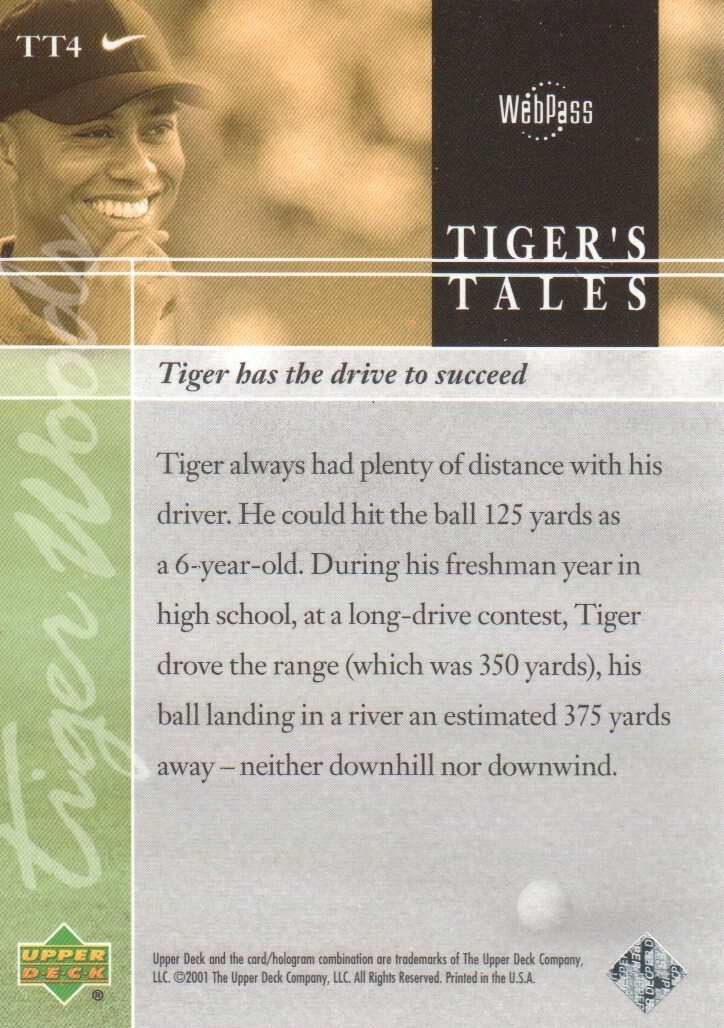 2001-Upper-Deck-Tiger-039-s-Tales-Golf-Cards-Pick-From-List miniature 9