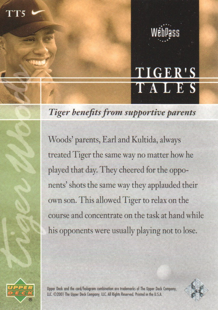 2001-Upper-Deck-Tiger-039-s-Tales-Golf-Cards-Pick-From-List miniature 11