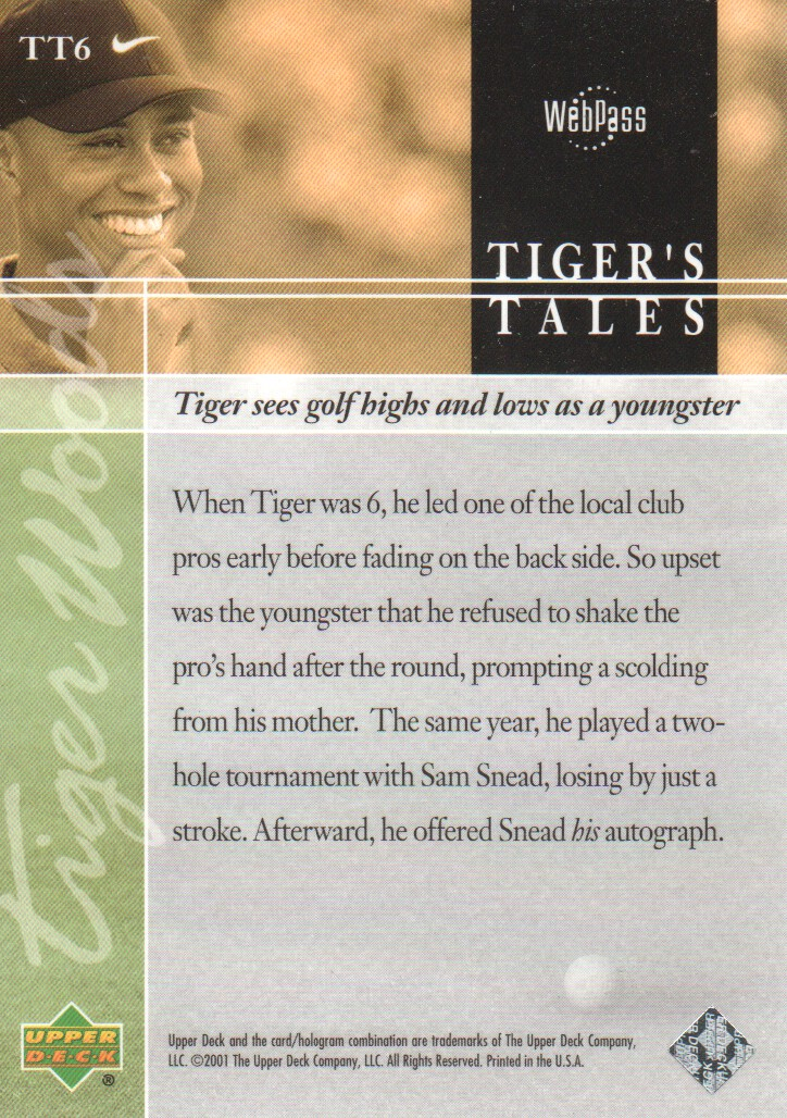 2001-Upper-Deck-Tiger-039-s-Tales-Golf-Cards-Pick-From-List miniature 13