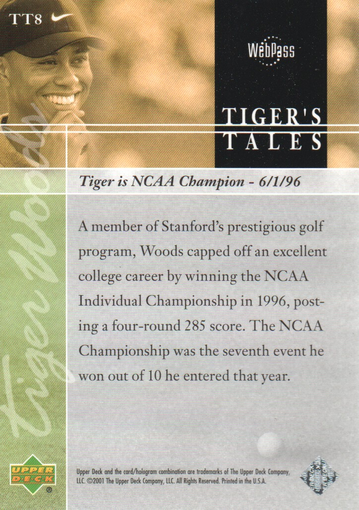 2001-Upper-Deck-Tiger-039-s-Tales-Golf-Cards-Pick-From-List miniature 17