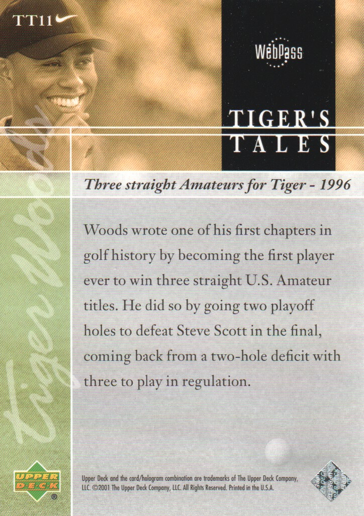 2001-Upper-Deck-Tiger-039-s-Tales-Golf-Cards-Pick-From-List miniature 23
