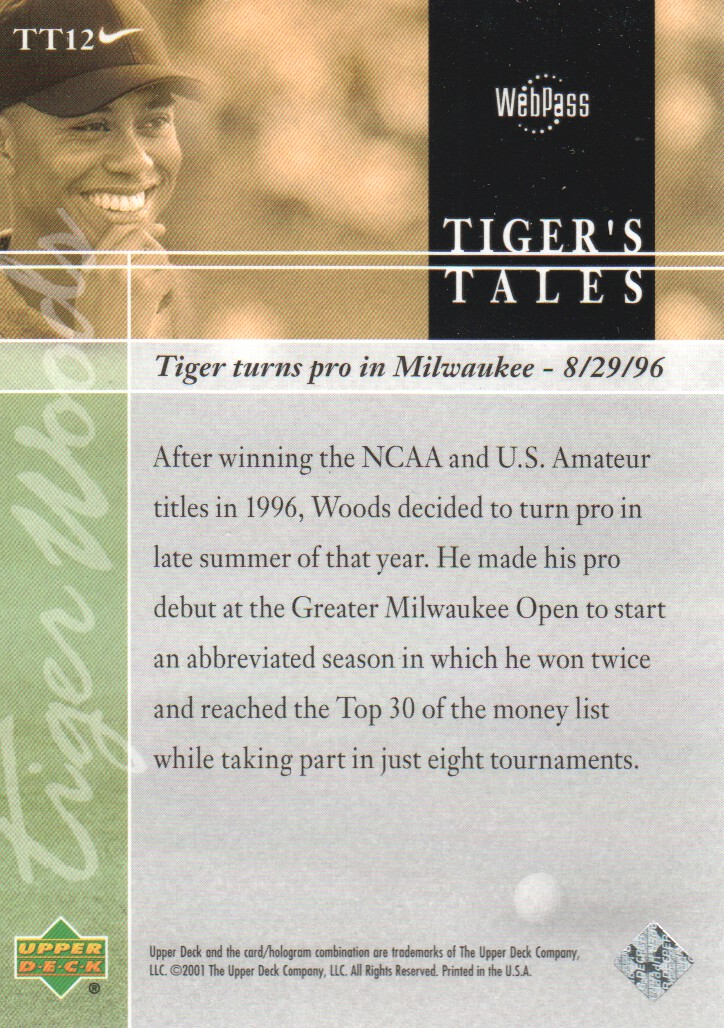 2001-Upper-Deck-Tiger-039-s-Tales-Golf-Cards-Pick-From-List miniature 25
