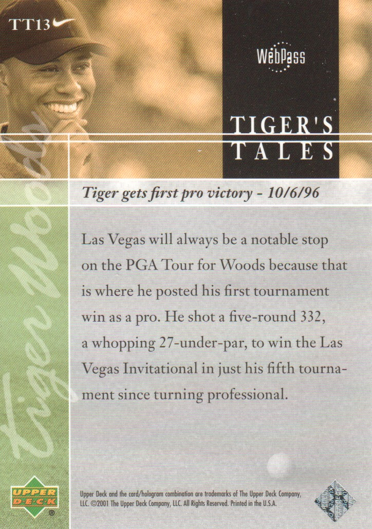 2001-Upper-Deck-Tiger-039-s-Tales-Golf-Cards-Pick-From-List miniature 27