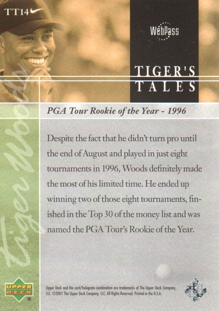 2001-Upper-Deck-Tiger-039-s-Tales-Golf-Cards-Pick-From-List miniature 29