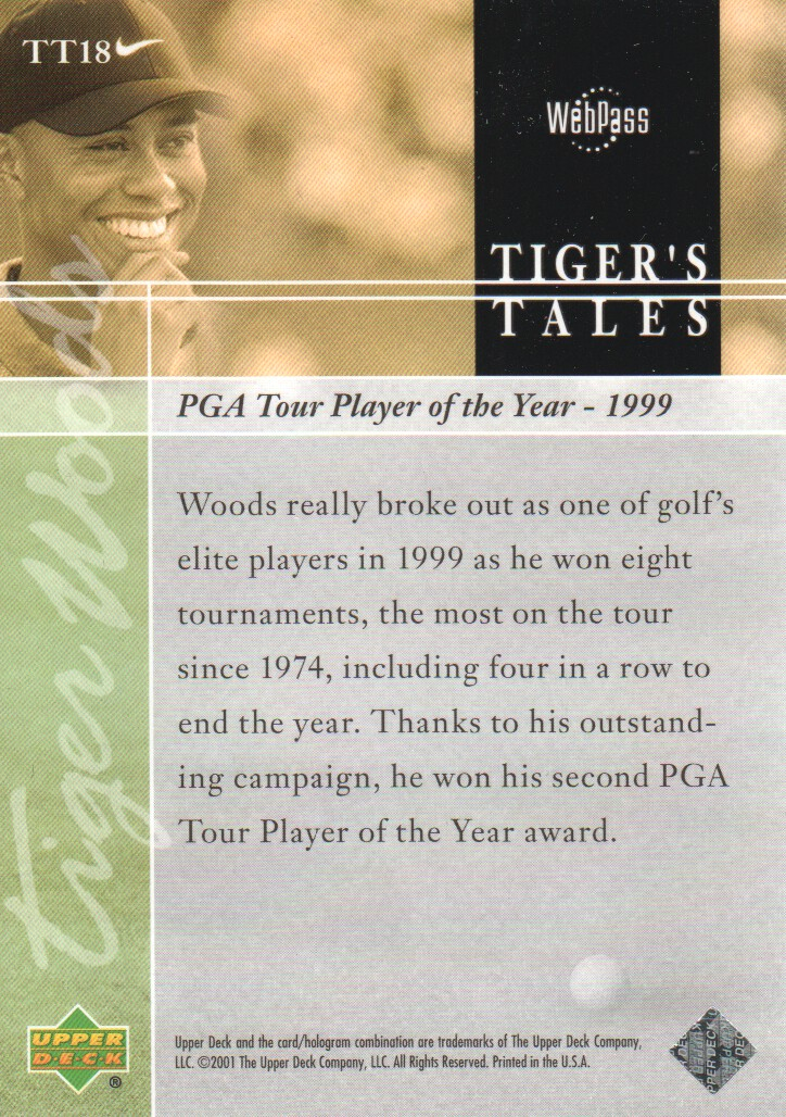 2001-Upper-Deck-Tiger-039-s-Tales-Golf-Cards-Pick-From-List miniature 37
