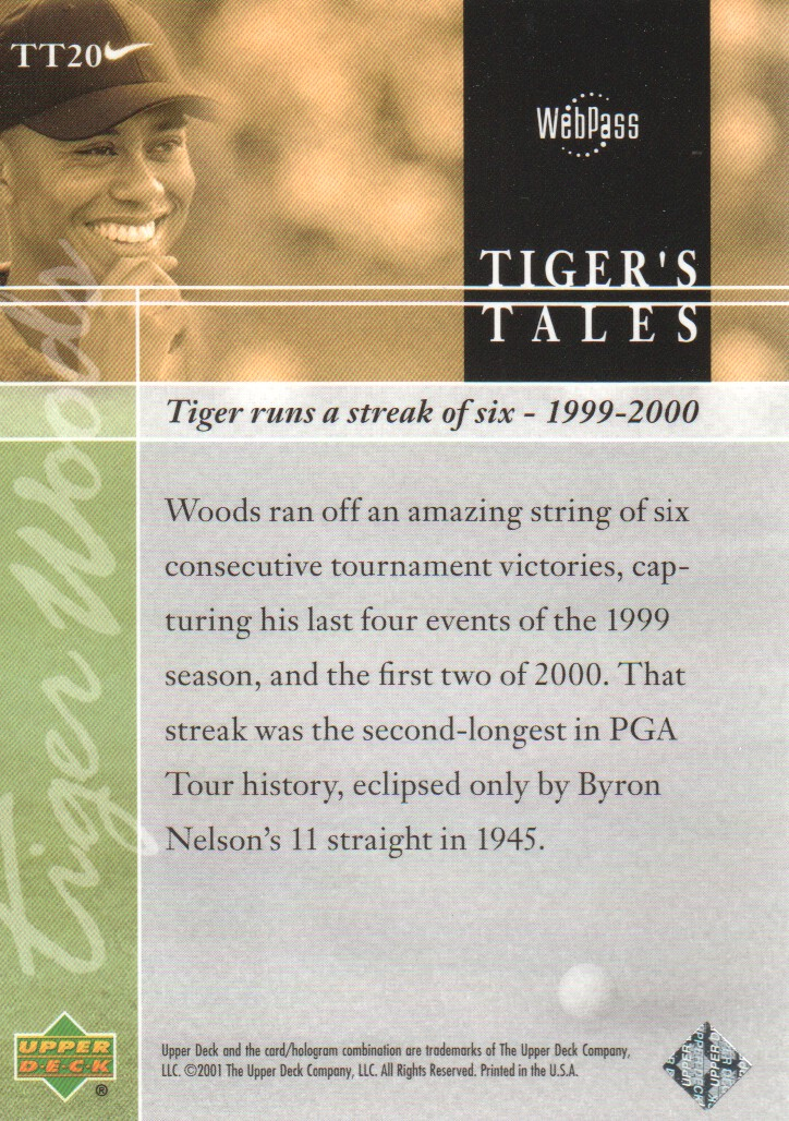 2001-Upper-Deck-Tiger-039-s-Tales-Golf-Cards-Pick-From-List miniature 41