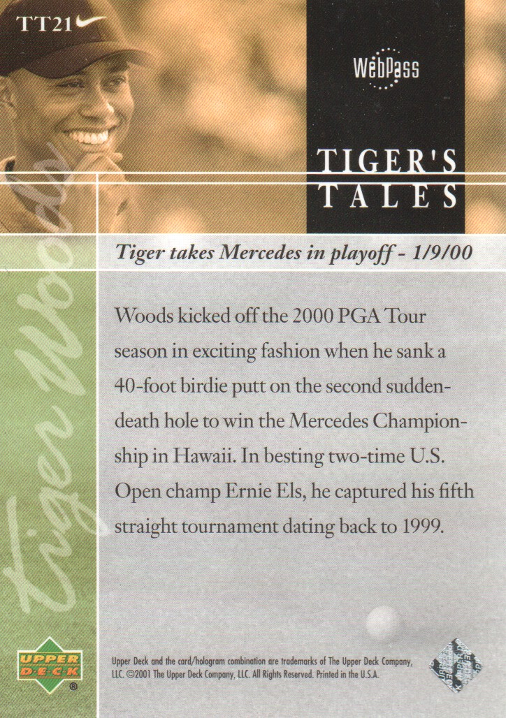 2001-Upper-Deck-Tiger-039-s-Tales-Golf-Cards-Pick-From-List miniature 43