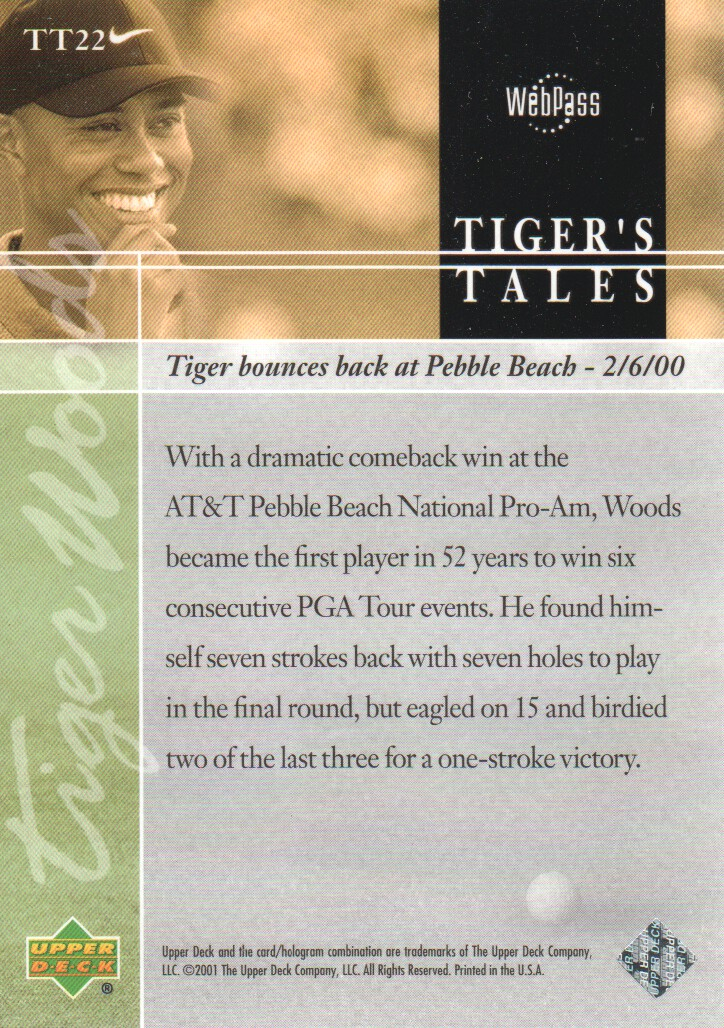 2001-Upper-Deck-Tiger-039-s-Tales-Golf-Cards-Pick-From-List miniature 45